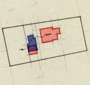 Kadasterkaartje 1911 met blauw de eerste woning van 1831 en rood de nieuwe woning van 1911 met schuur.