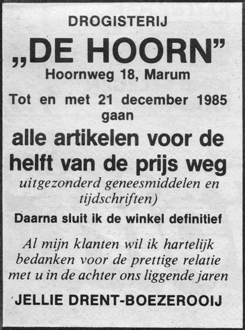 Bericht van de opheffing drogisterij 'De Hoorn'