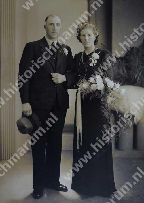Trouwfoto Jakob Klaassens (1911-2001) en Geertje Palsma (1913-2006)