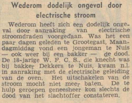 Bericht uit het Nieuwsblad van het Noorden van 17 juni 1947