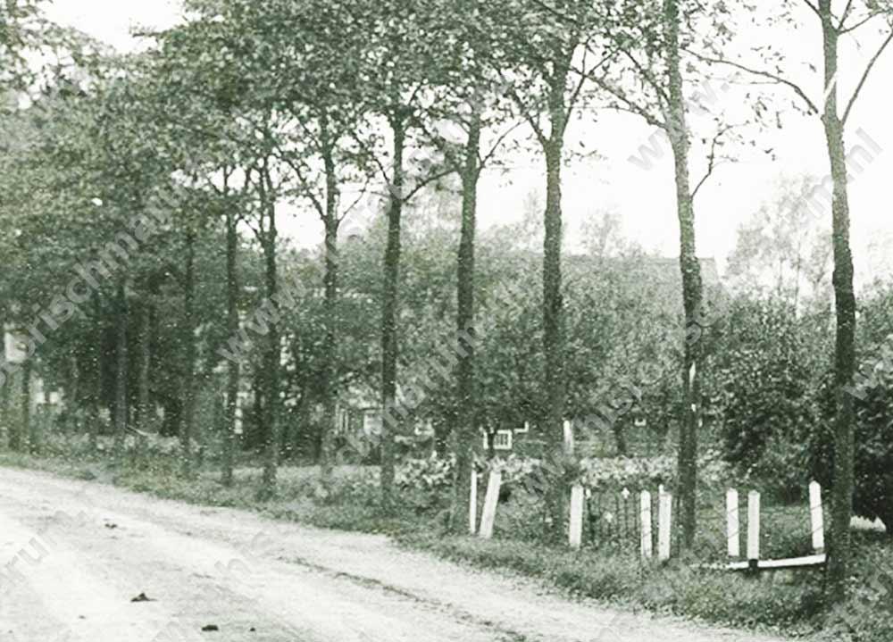 Fragment uit een foto van Nieuweweg 62 uit 1914, waar tussen de bomen door de oude boerderij enigszins zichtbaar is gemaakt. Het bruggetje behoort bij nr. 62