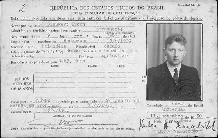 Emigratiekaartje Brazilië van Sieuwert Kroon (Bron:Familysearch.org)