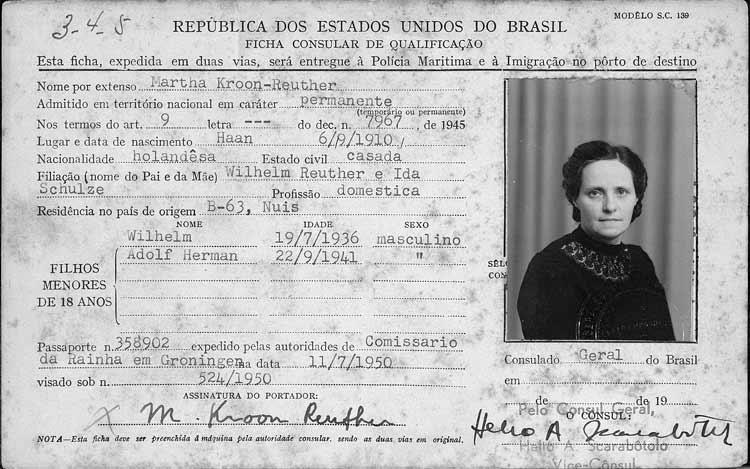 Emigratiekaartje Brazilië van Martha Kroon-Reuther (Bron:Familysearch.org)