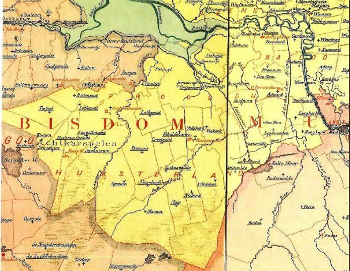 Proosdij Humsterland met kerspelgrenzen - Trimunt ontbreekt